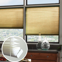 Blindsgalore - Blindsgalore No-Holes Pleated Shades: Room Darkening Solids - Blindsgalore's own line of Room Darkening pleated shades offer a crisp, folded look without unsightly lift cord holes running down the front of the shade.  Room Darkening pleated shades are made from an opaque fabric that shuts out the natural light.  It offers complete privacy.