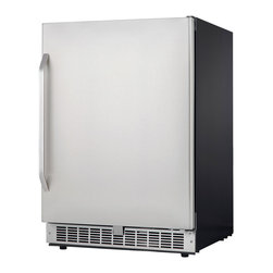 Danby - 5.4 Cu.ft Built in Refrigerator LED Display Energy Star Silhouette - The Danby DAR154BLSST Energy Star 5.4 Cu.Ft. Silhouette Select Compact All Refrigerator will add an elegant touch to your kitchen, wet bar or entertainment room. With a spacious 5.4 Cu.Ft. capacity, three tempered glass shelves and 2L bottle storage, this all-fridge is the perfect place to store beverages and chill hor d'oeuvres. The full wrap stainless door, white LED interior lighting and electronic thermostat give this fridge a sleek, modern appearance that will compliment any decor.