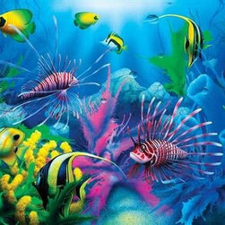 """Lions of the Sea Puzzle - 100 Piece Jigsaw PuzzleLions of the Sea is a deepwater scene made from soft, tropical shades of green, blue and violet. While Angelfish dominate, the delicate and outlandish """"manes"""" of the Lionfish draw you in. This puzzle if full of color as well as the magic of the sea."""