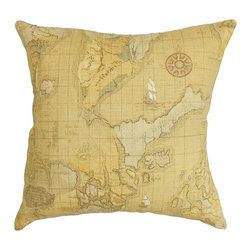 The Pillow Collection - Fujita Map Pillow Sienna - Showcase your love for travel and adventure with this gorgeous throw pillow. This accent pillow features an intricate map print in shades of sienna brown, yellow and neutral. This square pillow is ideal for your living room, bedroom or guest room. You can easily mix and match various patterns with this decor pillow. Made from 100% high-quality cotton material. Hidden zipper closure for easy cover removal.  Knife edge finish on all four sides.  Reversible pillow with the same fabric on the back side.  Spot cleaning suggested.