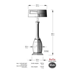 Bella - Specs of the Bella heater with Smooth Shade in both imperial and metric measurements.