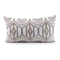 Kathy Kuo Home - Hanover Blue Tan Hand EmbroideredRectangular Pillow - Hand embroidered pillows in linen and silk are sumptuously oversized and generously filled with down and feathers - tossed on a bed or a gathered on a sofa, create a lasting personal touch.