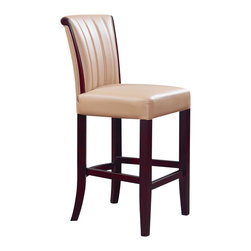 Global Furniture - Global Furniture USA D7035BS Upholstered Bar Stool in Tan with Wenge Legs - This tan bar stool will provide comfort and style. Complete with padded seat and back, dark brown wood legs with a conveniently placed footrest for comfort and line details making this a must have for your living space.