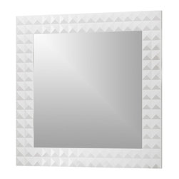 "Macral - Diamond 40"" Wall-Framed Mirror, White - Diamond 40"" Framed mirror White High gloss. The price ONLY includes the mirror, all the rest items such as the vanity, the faucet, linen cabinet...are NOT INCLUDED, but can be sold separately."