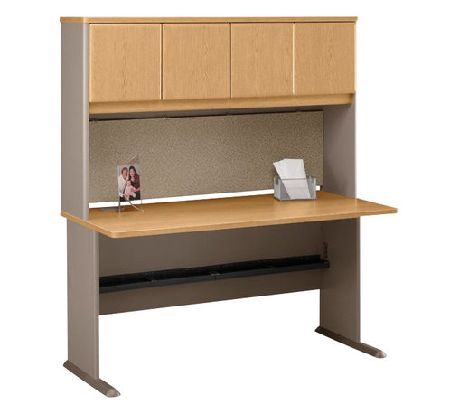 "Bush - Bush Series A 60"" Wood Computer Desk with Hutch in Light Oak - Bush - Office Sets - WC64360PKG4 - Bush Series A 60"" Hutch in Light Oak (included quantity: 1) Massively convenient. Bush Business furniture presents the Series A Collection 60"" Hutch that sits grandly atop the 60"" desk (sold separately). This economical hutch makes a private and efficient haven out of any workspace, giving you both improved storage capacity and peace of mind while you work.  Features:"