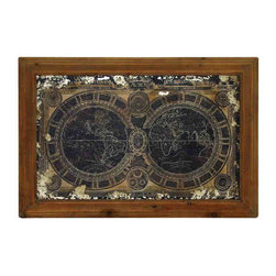 UMA - Vintage Hemispheres Wooden World Map - Bringing a classic touch to any decor, this vintage style hemisphere world map is etched in wood.
