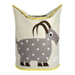3 Sprouts - 3 Sprouts Laundry Hamper, Goat - Does laundry seem to be taking over your child's nursery or bedroom? Our 3 Sprouts gray laundry hamper in cute goat pattern is the perfect solution. Two large handles collapse, creating an easy access circular opening that stylishly keeps dirty laundry out of sight. And when you're ready to go, simply lift the handles and tote your laundry away.