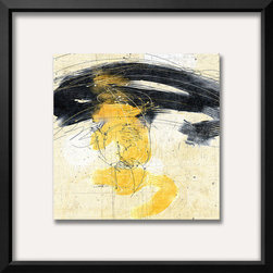 Artcom - Zen in Yellow II Artwork - Zen in Yellow II is a Framed Art Print set with a EASTMAN Black Thin wood frame and a Crisp - Bright White mat.