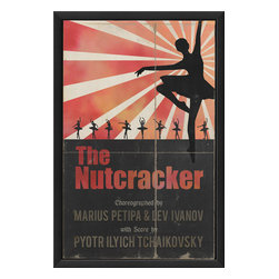"""The Artwork Factory - 'The Nutcracker' Print - Shadow dancer. This remarkably austere graphic print of the """"Nutcracker"""" ballet features an abundance of grace, simplicity and elegance. It will definitely take on a starring role wherever you hang it."""