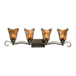 "Uttermost - 4 Light Vanity Strip Lighting Oil Rubbed Bronze - Heavy hand made glass is held in classic European iron works giving these pieces a contemporary quality, with strong traditional appeal as well. Dimensions: 34""W X 7""D X 9""H; Lights: 4; Finish: Oil Rubbed Bronze with Toffee Tinted Art Glass; Bulbs: Uses Up To 100 Watt Bulbs (Not Included); Light Covers: Hand Made Glass; Weight: 16 lbs; UL Approved"