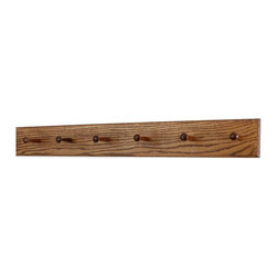 "PegandRail - Solid Oak Shaker Peg Rack 4.5"" Extra Wide - Hand Crafted in the USA, Chestnut, 3 - Made in The USA"