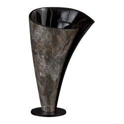 Howard Elliott - Howard Elliott 22060 Mother of Pearl Twisted with Glossy Black Inside - Short - Mother of Pearl Twisted Vase - Short by Howard Elliott This unique vase features a Mother of Pearl Twisted effect and is finished with a Glossy Black Inside. Vase (1)