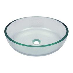 Polaris Sinks - P526 Clear Glass Vessel Bathroom Sink - P526 Polaris Clear Glass Vessel Bathroom Sink