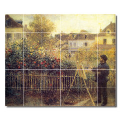 Picture-Tiles, LLC - Claude Monet Painting In His Garden At Arenteuil Tile Mural By Auguste - * MURAL SIZE: 60x72 inch tile mural using (30) 12x12 ceramic tiles-satin finish.