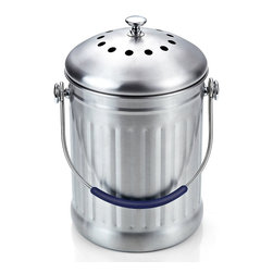Cook N Home - Cook N Home Stainless Steel Kitchen Compost Bin, 1-Gallon - What's in Box: stainless steel Compost Bin 1 Gallon, Brushed Stainless Steel surface match your contemporary kitchenware, Natural Charcoal filter under lid will hold and minimize odor, Best Change filter every 6 month, Stainless Steel is neutral, it is not reactive to most food scrap.