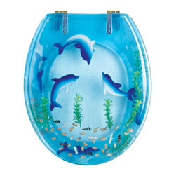 Renovators Supply - Toilet Seats Brass PVD Polymer Dolphins Swim Round Toilet Seat | 16944 - Dolphins Swim Toilet Seats: Made of High Grade Polymer this seat is designed for maximum strength and durability and does NOT yellow over time like most polymers. Fits over standard size toilet bowls and comes in a variety of designs. Cast within the seat the stabilizing bumpers prevent rocking and keep the seat safely in place. Solid brass PVD swivel hinges are easily adjustable 3 5/8 inch to 7 1/2 inch and easier to clean. Physical Vapor Deposition protects brass hinges from tarnishing for years to come. Seat measures: 15 13/16 inch x 14 9/16 inch Lid measures: 14 5/16 inch x 13 1/8 inch Round shape.