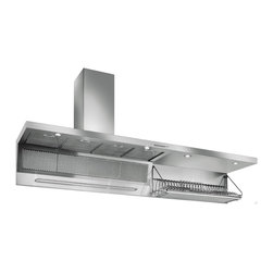 Futuro Futuro Wall Mount Range Hood with Dish Rack - A massive hood inspired by restaurant style design which would work so well in a serious cook's kitchen with a 48 to 60 inch range.