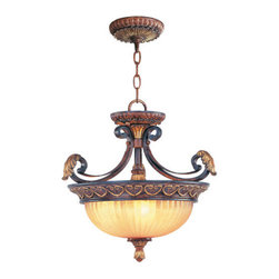 Livex Lighting - Livex Lighting 8565 3 Light 180W Semi-Flush Ceiling Light with Medium Bulb Base - 3 Light 180W Semi-Flush Ceiling Light with Medium Bulb Base and Rustic Art Glass from Villa Verona SeriesProduct Features: