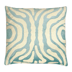 """Lili Alessandra - Lili Alessandra Zebra Seafoam Decorative Pillow - Lili Alessandra is known for unique and distinctive linens marked by elaborate prints, plush fabric and elegant details. A classic animal pattern receives a touch of glamour with this seafoam green decorative throw pillow. Accenting a luxurious velvet background, white beads form playful zebra stripes for an unexpected bedroom or living room design. Includes zipper closure and 95/5 down insert. Dry clean only. Lili Alessandra textiles reflect a handmade artistry that may result in slight and expected variations. 24""""W x 24""""H."""