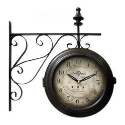 YOSEMITE HOME DECOR - 16 in. Double sided iron wall clock with black iron frame - You can imagine this antique designed, double-sided clock hanging in the Gare de Lyon train station in Paris. The lovely iron scroll wall mount adds just the right touch of authenticity and charm. Hang this in your office or home for a bit of European flair.