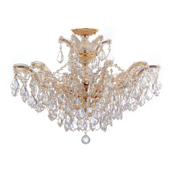 Crystorama - Crystorama 4439-GD-CL-MWP Maria Theresa Chandelier - There's undeniable magic when light meets crystal or glass. It sparks the same fire one sees when light meets precious and semi-precious stones. Great lighting often takes styling cues from jewelry as well, with its primary use of gold and silver tones. Just like an outfit isn't complete without the perfect necklace, bracelet or earrings, a room isn't complete until it has lighting that adds the WOW factor when you walk in.
