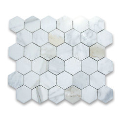 "Stone Center Corp - Calacatta Gold Marble Hexagon Mosaic Tile 2 inch Polished - Calacatta Gold Marble 2"" (from point to point) hexagon pieces mounted on a sturdy mesh tile sheet"