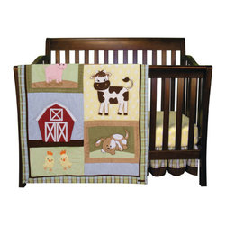 """Trend Lab - Baby Barnyard - 3 Piece Crib Bedding Set - Your little one will love the sweet and cuddly baby animals in the Baby Barnyard 3 Piece Crib Bedding Set by Trend Lab. Set features a neutral color palette of avocado and sage green, brick red, chocolate brown, caramel, butter yellow, burnt orange, pink, sky blue and cream. Lovable, embroidered animal appliques add texture and depth to this barnyard scene. A charming plaid print in sage, sky blue, burnt orange, chocolate brown and cream is mixed with a butter yellow and white dot print and a blue and white ticking stripe; while hand stitched details add the finishing touch. A combination of fuzzy velour, soft ultrasuede and cotton add texture and depth to this barnyard scene. Set includes quilt, crib sheet and skirt. The quilt measures 35"""" x 45"""" and features embroidered baby animal and barn appliques set against soft velour, ultrasuede and printed cotton creating a fun-loving barnyard scene. The stylish plaid print in chocolate, burnt orange, sky blue, cream and sage frames the quilt alongside a brown ultrasuede trim. Top-stitching around multiple patches adds the finishing touch! Quilt reverses to the butter yellow and white dot print. Crib sheet features the dot print in butter yellow and white. Sheet has 10"""" deep pockets and fits a standard 52"""" x 28"""" crib mattress. Elastic around the entire opening ensures a more secure fit. Ruffled skirt with 10"""" drop features the plaid print in chocolate, burnt orange, sky blue, cream and sage on the top with a strip of brown ultrasuede across the bottom. Matching Baby Barnyard Crib Bumpers sold separately. Complete your nursery with coordinating room accessories from the Baby Barnyard collection by Trend Lab."""