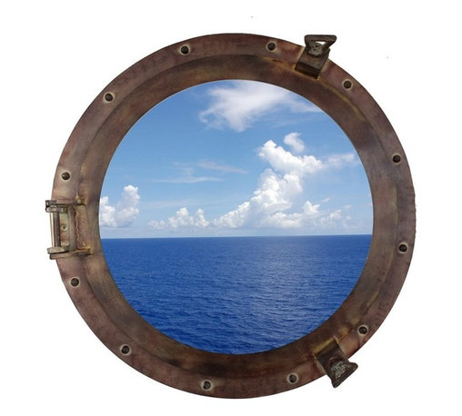 Handcrafted Nautical Decor - Red/Brown Aluminum Porthole Mirror 20'' - This Rustic Aluminum Porthole Window 20'' adds sophistication, style, and          charm for those looking to enhance rooms with a nautical theme.  This         boat porthole has a sturdy, heavy and authentic appearance,  yet can be used to compliment your home as    nautical    wall   decor. This porthole window makes a  fabulous style    statement  in   any   room with its classic round  frame, five solid    rivets and two  dog    ears  surround the perimeter  of the porthole    frame.--NOTE: This is a decorative porthole window (the      center is clear glass and not an ocean scene). However, any image (such      as the ocean scene pictured) can easily be put in the center of the      porthole for either our porthole windows or mirrors.--Dimensions: 20'' L x 2'W x 20'H----    Functional porthole window holds clear glass which can be removed at any time--    Handcrafted and hand-painted an antiqued rustic finish by our master artisans--    Realistic nautical decor - modeled after an antique 19th-century ship's porthole--    --    Great porthole wall decor and an instant conversation piece--