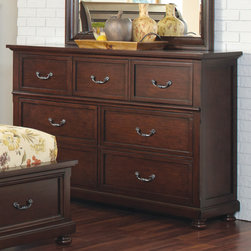 """Coaster - Hannah Dresser in Brown Cherry Finish - Crafted from pine solids and cherry veneers. Brighten up your bedroom with the simplistic style of this bedroom collection.; Traditional Style; Brown Cherry Finish; Dimensions: 68""""L x 19""""W x 45""""H"""