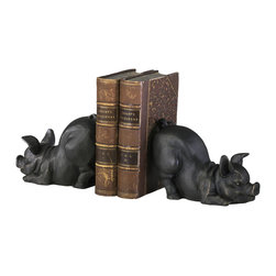 Kathy Kuo Home - Playful Piglets Cast Iron Antique Brown Bookends - And this little piggy… became an adorable bookend!  These two pigs look like they have been doing yoga and are ready for a nice long stint on a vintage inspired bookshelf.  Farmhouse kitchens will find them especially welcome.