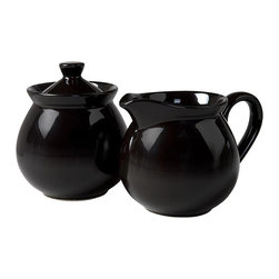 Waechtersbach - Waechtersbach Fun Factory Black Creamer and Sugar Set - Go for color when choosing Waechtersbach Fun Factory II dinnerware. This black creamer and sugar set is made from high-fired ceramic earthenware that is dishwasher safe.