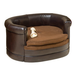 Great Deal Furniture - Rover Oval Chocolate Brown Leather Pet Sofa Bed - Let your pet relax in style at no cost to comfort with the Rover Pet Sofa Bed. This sofa is upholstered in a polyurethane leather with a fabric area for your pet to comfortably lay. Designed with style in mind, this chocolate brown is neutral to match the indoor or outdoor decor of any home, while allowing your best friend to relax in style!