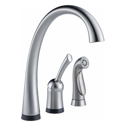 Delta Faucet - Pilar Faucet w/ Touch2O Arctic Stainless - 4380T-AR-DST Pilar Waterfall 1-Handle Side Sprayer Kitchen Faucet with Touch2O Technology in Arctic Stainless