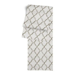 Silver Embroidered Quatrefoil Custom Table Runner - Get ready to dine in style with your new Simple Table Runner. With clean rolled edges and hundreds of fabrics to choose from, it's the perfect centerpiece to the well set table. We love it in this classic quatrefoil trellis embroidered in gold on dark beige linen-like ground. Every room can use a little glitz and glamour!