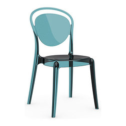 Calligaris - Parisienne Chair, Set of 2, Transparent Aquamarine - A mere whisper, a shadow, a ghost of a chair — this piece floats in a space like a divine entity. Each transparent color glows with its own mood — get them all and let them speak for themselves.