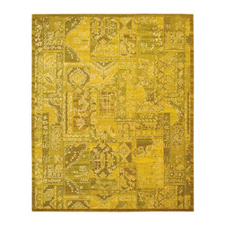 """Nourison - Nourison Silk Infusion SIF02 5'3"""" x 7'5"""" Yellow 605 Area Rug 17980 - This exciting rug creates a collage of classic Damask, medallion, leaf and diamond designs for a uniquely beautiful effect. With its sophisticated shades of yellow, white, green and black, soft glimmer, posh pile and striking silk accents, this superb rug emanates an air of non-stop extravagance."""