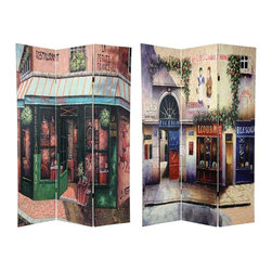 Oriental Furniture - 6 ft. Tall Double Sided Parisian Street Room Divider - A pair of vintage Paris street scenes painted with lots of neutral tones in tan, beige, brown, gray and antique white, beautifully accented by quaint storefronts in rich green, blue, and brick red. Cobble stone, flag stone and brick, classic European stucco, and well tended plants and vines makes these streets come alive like they do in real life, to accent any corner of your living room, bedroom, family room, or place of business.