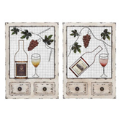 Benzara - Wood Metal Wall Decor 2 Assorted with Entwined Glasses - Demonstrate your passion for vintage decor through the design of the metal wine wall decor. Wine wall art displays two wine bottles and two wine glasses entwined with a grapevine. This beautiful design will add character to your walls. It will definitely add a classy style to your bare walls and earn you accolades for your choice for home decoration. Moreover, it can also be used as a gift item for anniversaries and token of love. This easy to maintain wall decor will instantly light up the dull and boring walls of any living space. Crafted from premium quality metal, this wall decor is easy to maintain and offers lasting durability. This is a good choice of gift for your office colleague who loves to sip his wine in a style..