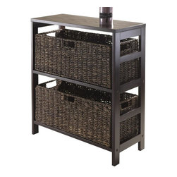 Winsome Wood - 29.21 in. Wooden Shelf Unit - Includes two large foldable baskets. Perfect to storage and organized goodies. Made from solid, composite wood. Dark espresso finish. Assembly required. Open basket: 22.83 in. W x 10.24 in. D x 9.06 in. H. Folded basket: 31.69 in. W x 9.45 in. D x 2.36 in. H. Overall: 25.2 in. W x 11.22 in. D x 29.21 in. H
