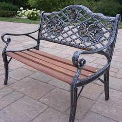 Oakland Living - Mini Angel Garden Bench - Lightweight. Metal hardware. Fade, chip and crack resistant. Warranty: One year limited. Made from durable cast iron and wood. Antique pewter hardened powder coat finish. Minimal assembly required. 27 in. L x 15 in. W x 22 in. H (30 lbs.)The Oakland Collection has wide range of practical designs giving you rich addition to any outdoor setting. The functional designs make every piece in this collection ideal for any back yard, patio or garden setting. This bench will be beautiful addition to your patio, balcony or outdoor entertainment area. Our benches are perfect for any small space or to accent larger space. We recommend that products be covered to protect them when not in use. To preserve the beauty and finish of the metal products, we recommend applying epoxy clear coat once year. However, because of the nature of iron it will eventually rust when exposed to the elements.