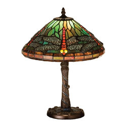 Meyda Tiffany - Meyda Tiffany Tiffany Reproductions Table Lamp in Copperfoil - Shown in picture: Tiffany Dragonfly W/ Twisted Fly Mosaic Base Accent Lamp; One Of Tiffany Studio's Most Beloved Dragonfly Design - Modeled After The Hanging Head Dragonfly. Diving Dragonflies With Glowing Scarlet Jeweled Eyes And Delicate Metal Filigree Wings Circle Over Hand Cut And Copper Foiled Pieces Of Sky Blue Art Glass. A Sparkling Evening Sky Band Circles The Bottom Of The Stained Glass Shade. A Sky Blue Glass Mosaic Inlay Spirals Down The Hand Finished Mahogany Bronze Base That Is Accented With A Circle Of Cast Metal Dragonflies.