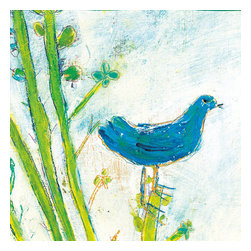 Sugarboo Design - Blue Bird Right Art Print 36 x 36 - Vintage Art Print on Wood by Sugarboo Designs
