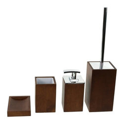 Gedy - Wooden 4 Piece Brown Bathroom Accessory Set - Trendy brown bathroom accessory set made from wood.