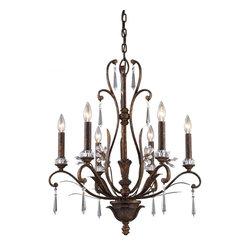 ELK Lighting - Six Light Burnt Bronze Up Chandelier - Six Light Burnt Bronze Up Chandelier