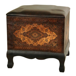 Oriental Furniture - Olde-Worlde Baroque Ottoman/Stool - A delightful little stool or footstool, well crafted and beautifully finished. The body of the stool is covered with high quality textured faux leather, printed with an attractive and unique European style medallion pattern. These stools have many uses, and just one of them may not be enough. They work great as a place to put a plate in front of the TV, or to sit on while tying one's shoes, or to put one's feet when seated in an easy chair.