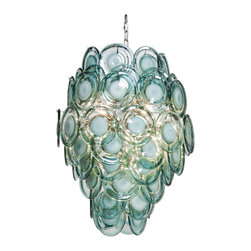 Ventura Coastal Beach Metal Aqua Glass Chandelier - Contrasting opaque and clear drops of aqua blue art glass come together and engulf  chandelier bulbs to diffuse light beautifully.  Evocative of ice sculpture, sea foam, and abstract art, this noteworthy piece of lighting will appeal to mid century and coastal beach style fans.