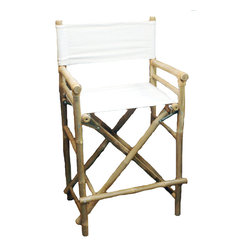 Bamboo54 - Folding Bamboo Bar Stool - Set of 2 - Bring the feel of a favorite island retreat into your home with this durable and comfortable Folding Bamboo Bar Stool. This stool do fit well with a beach or tropical theme decor and also neutral enough in appearance to look well in many other environments. It is made from thick bamboo pole with bold X patterns on the front and back panels. The seats and backs are stretched canvas in classic white, adding a touch of safari style! This Bamboo Bar Stool folds away easily for storage. Buy extra pair of this bar stool for your next party!
