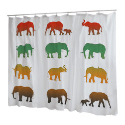 Uneekee - Uneekee Color Elephants Shower Curtain - Your shower will start singing to you and thanking you for such a glorious burst of design as you start your day!  Full printing on the front and white on the back.  Buttonhole openings for shower rings.