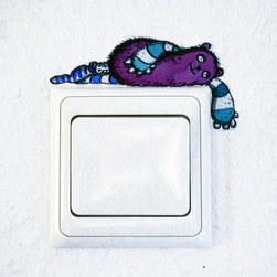 Magenta Laying Monster Light Switch Vinyl Wall Decal by Tessa Rath - What could be better than monster art? I'm not sure either — maybe monster art lazing on your light switch.
