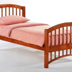Night & Day Furniture - Molasses Twin Bed in Cherry - Bed includes head/foot, rails, slats. 100% Malaysian Rubberwood construction. Warranty: 5 years. Cherry finish. 57 in. W x 80.6 in. D x 38.8 in. H (32.6 lbs.)Molasses. A good name for: The speed at which our kids get themselves into bed. Also works for: The speed at which our kids get themselves out of bed. And: That sweet, droopy feeling we get when sleep is pulling us down down down. About as good a name for a sleepy-time bed as we could think of.Take care of your kids' needs for beds, bunks and storage with our Zest Bedroom Collection for Night and Day. Smart quality at extraordinary value. We have gone to great lengths to design and engineer this complete line to keep your cost down and your pleasure up.